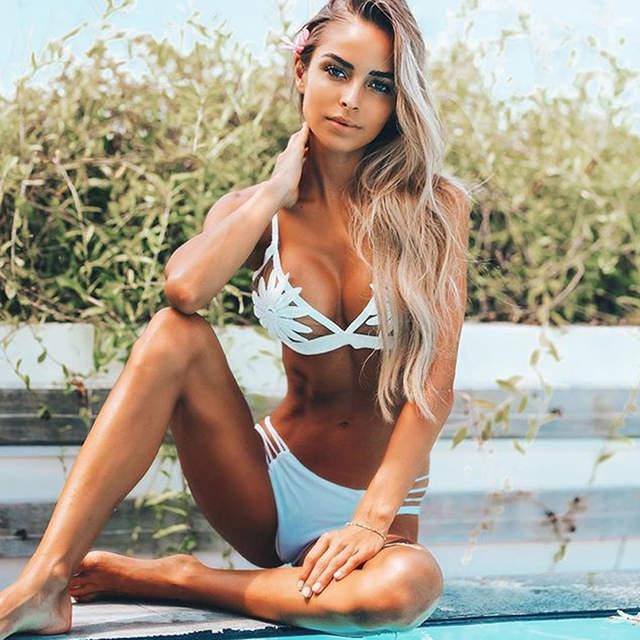 91e73c6c6895e placeholder Two pieces Swimsuit 2018 Sexy 3D Floral Swimwear Bikinis Women  White Bikini Set Brazilian Biquini Push