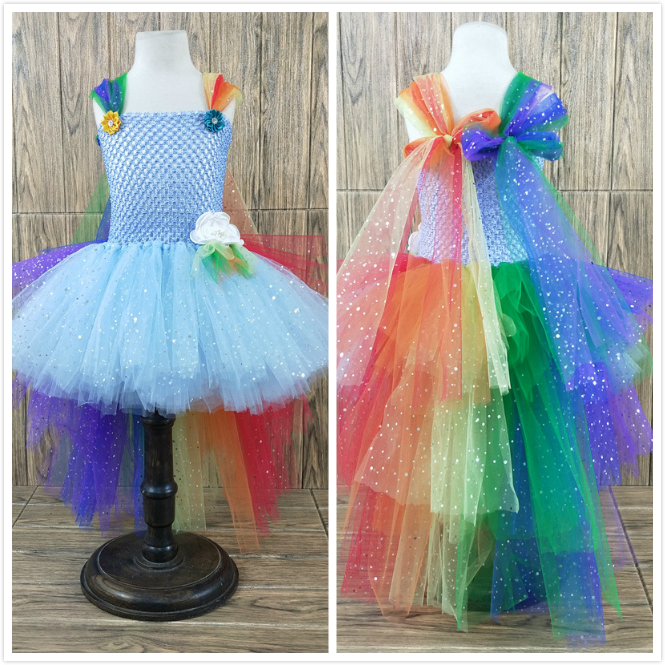 POSH DREAM Unicorn Rainbow Shining Evening Kids Girls Dresses Princess Unicorn Cosplay Children Kids Tutu Dress with Train Tulle essence prismatic rainbow glow highlighter 10 цвет 10 be a unicorn variant hex name f4d683