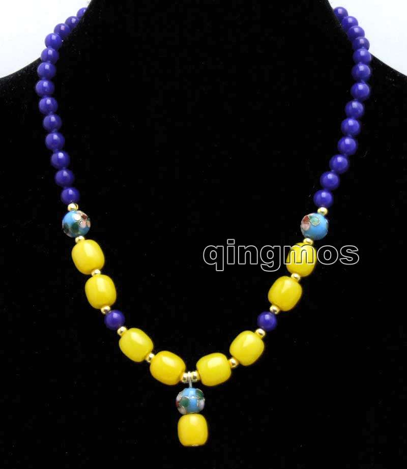 6mm blue beads with 10*10mm Column shape yellow beads pendant 17 Necklace -nec5981 Wholesale/retail Free shipping