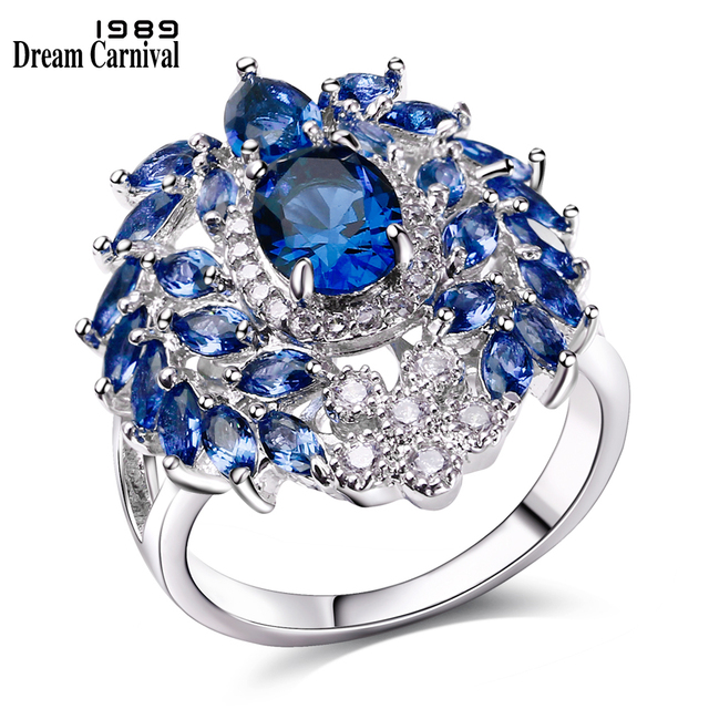 DreamCarnival 1989 Women Engagement Rings Luxury Blue Red Green CZ Paved Ladies