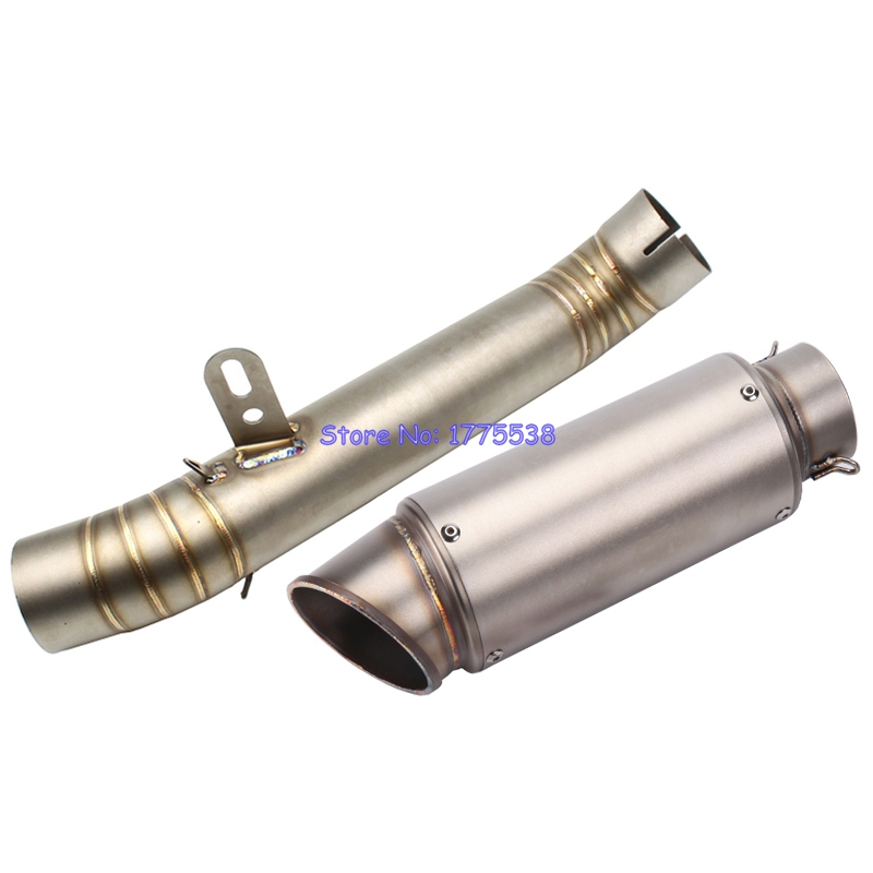 ID:60mm Motorcycle GP Exhaust Muffler Link Pipe Connector for Aprilia RSV4 Motorbike Exhaust Muffler Escape Sticker Available free shipping carbon fiber id 61mm motorcycle exhaust pipe with laser marking exhaust for large displacement motorcycle muffler