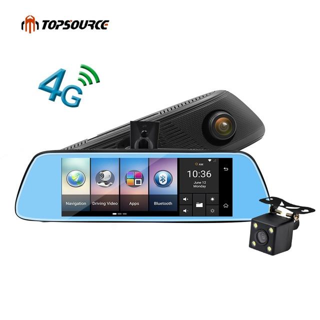 1080P 4G 7 Dual Len Car Camera DVR Video Recorder Rearview Mirror GPS Bluetooth
