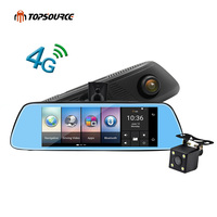 TOPSOUR 8 4G Car Camera DVR Mirror GPS Bluetooth Dual Lens Rearview Mirror Video Recorder Full