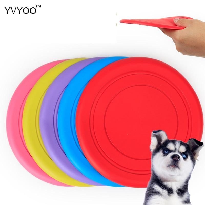 YVYOO Домашни кучета Гумени гъвкави обучителни пособия Летящи дискове 18CM Интерактивна хигиена Нетоксични хвърлящи играчки 1 бр YV04
