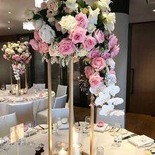 Свадебный цветок стенд металлический золотой цвет ваза настольная колонна для свадебного украшения