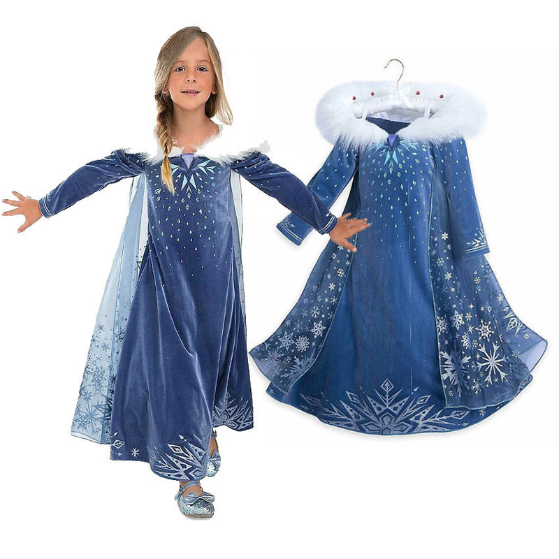 2018 Dresses for Girls Dess Princess Elsa Anna Cosplay Children Costume Snow Print Party Dress Dresses Wedding Girls Clothing ...