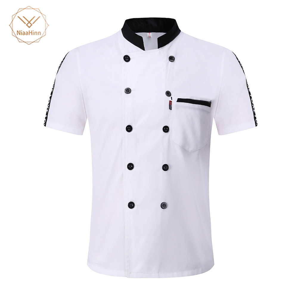 New Short Sleeve Chef Jacket Breathable Chef Uniform Hotel Restaurant Kitchen Workwear Catering Chef's Work Shirt Men Chef 2019