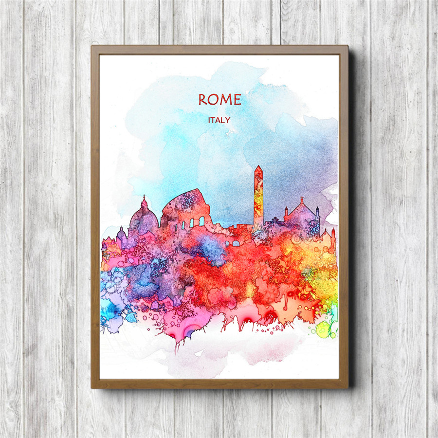 Hot Sale Vintage ROME Poster Home Living Room Cafe Bar Pub Decor Kraft Paper Art Print Painting Wall Sticker Free Ship 42X30cm