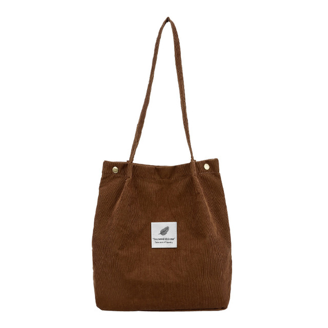 Large Capacity Women Corduroy Tote Ladies Casual Solid Color Travel Shoulder Bag Foldable Reusable Women Shopping Beach Bag #YJ 1