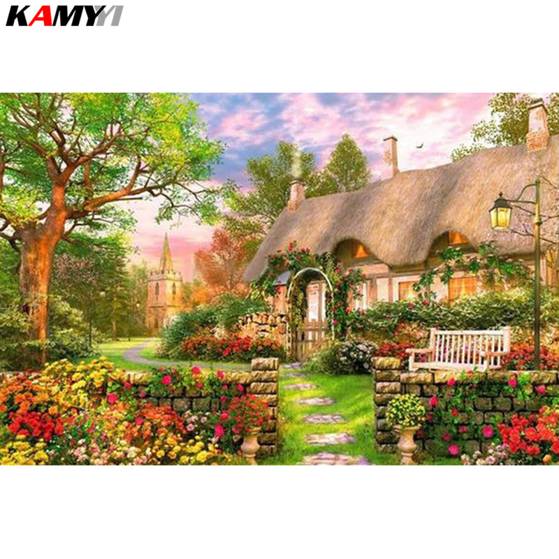 Full Square/Round Drill 5D DIY Diamond Painting Garden cottage 3D Embroidery Cross Stitch Mosaic Decor HYY