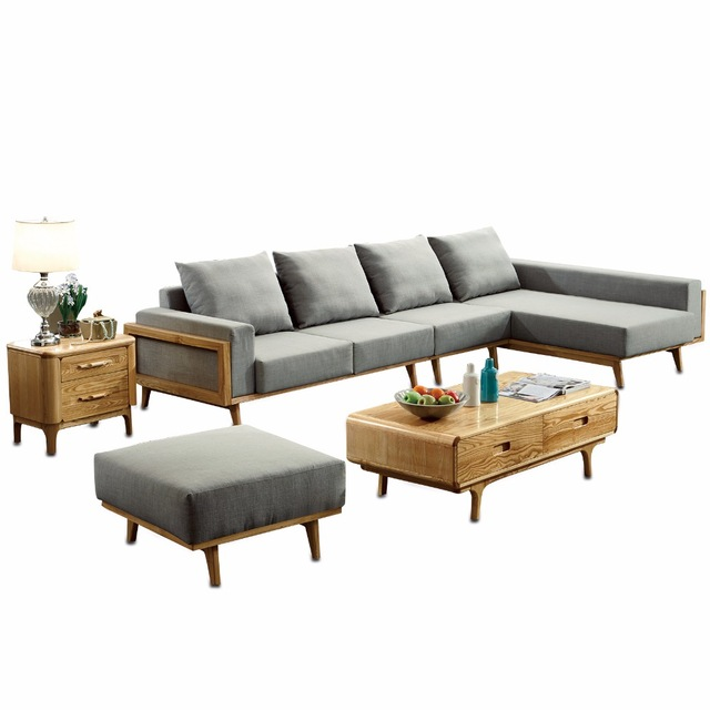 1801b64 Modern Living Room Ash Wood Solid Sofa Set Simple Style Fabric