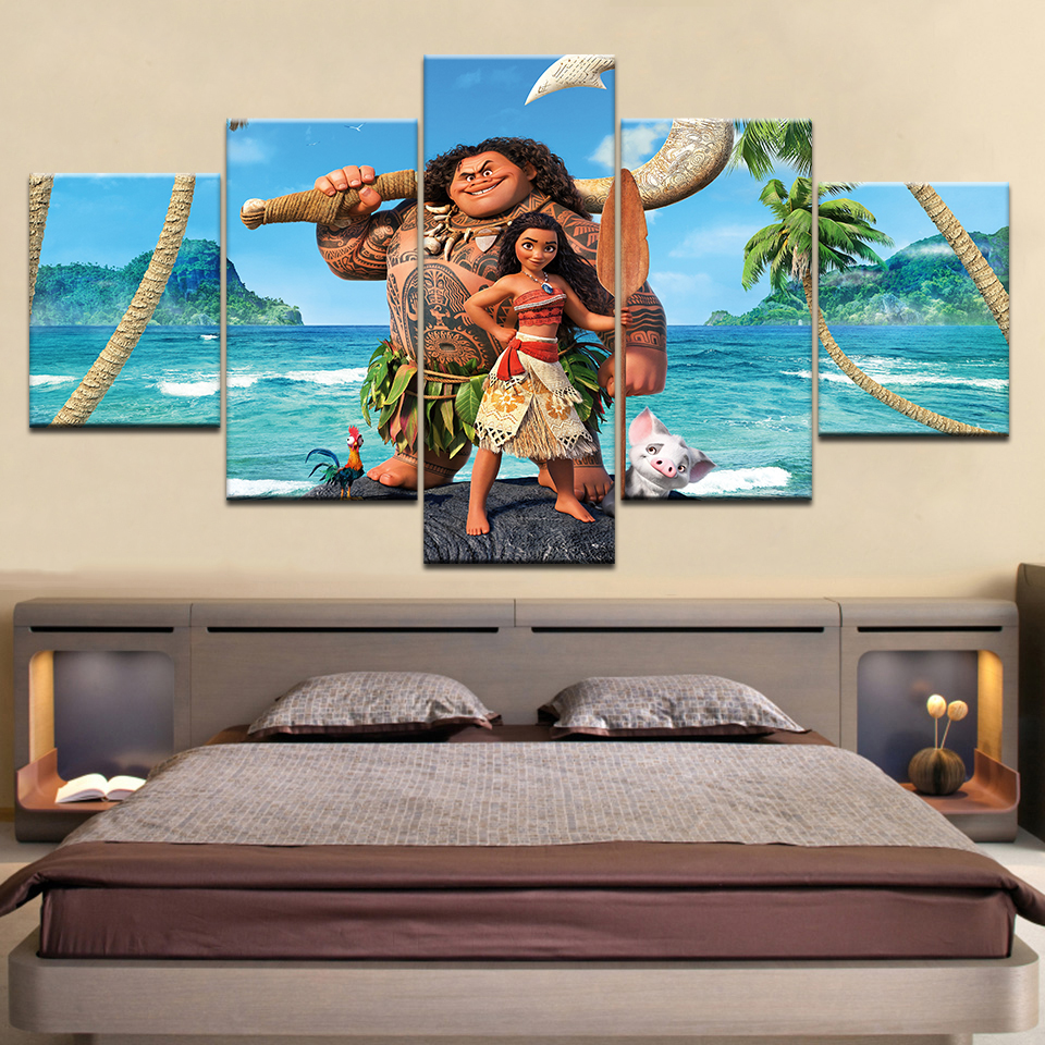 5 Panel piece HD Print cartoon MONA get free shipping wall posters Canvas Art Painting For home living room decoration in Painting Calligraphy from Home Garden
