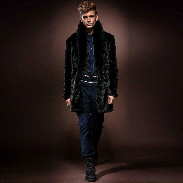 2016 Winter Men Faux Fox Collar Splice Mink Fur Coat Jacket Long Parka Overcoat Soft Warm Coats Windbreaker Men Outerwear H068