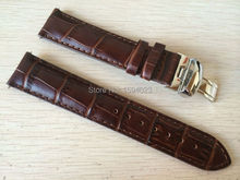 купить 19mm (Buckle18mm) PRC200 T17 T41 T461 High Quality Silver Butterfly Buckle + Brown Genuine Leather Watch Bands Strap по цене 1003.17 рублей