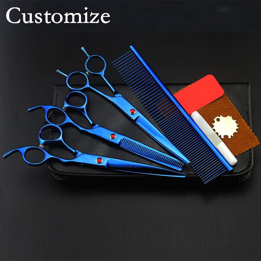Customize professional 4 kit Pet grooming 8 inch shears dog grooming hair scissors thinning cutting barber hairdressing scissors 4 kit professional 8 inch pink pet grooming shears cutting hair scissors case dog grooming thinning barber hairdressing scissors