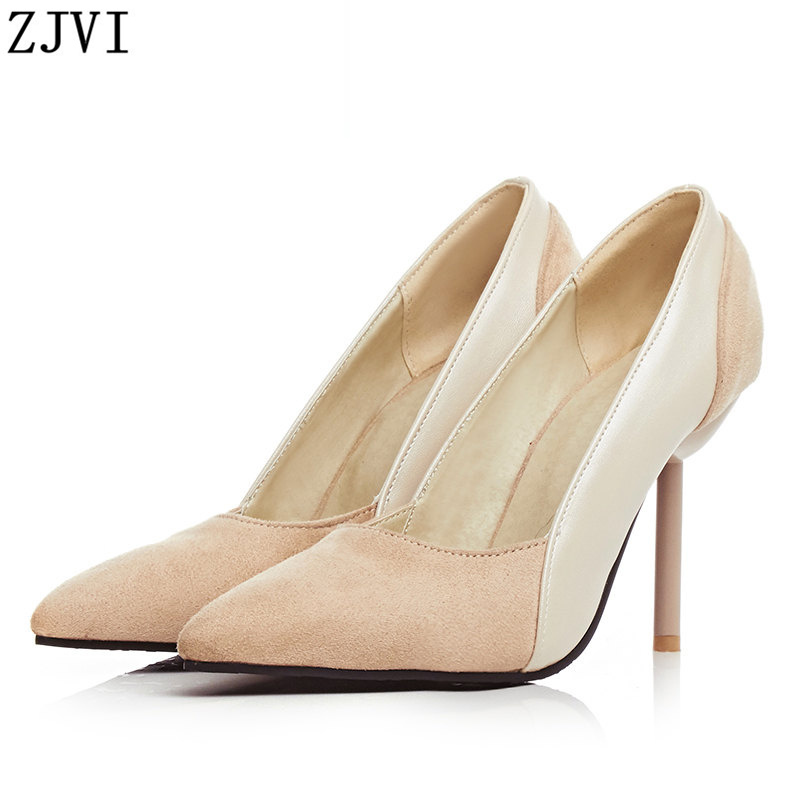 ФОТО ZJVI Women fashion nubuck thin high heels Pumps woman pointed toe Shoes ladies womens summer autumn black beige party shoes