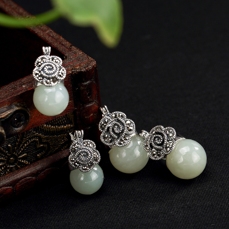 2018 Special Offer Earings Fashion Jewelry Deer S925 Pure Natural Hetian Jade Mosaic Marble Lady High-end Earrings Wholesale new fashion silver s925 pure silver natural hetian jade jade bead beeswax mosaic peony lady eardrop earrings wholesale
