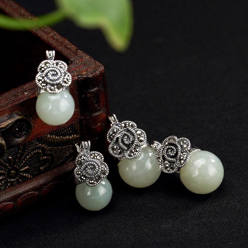 2018 offre spéciale boucles d'oreilles mode bijoux cerf S925 pur naturel Hetian Jade mosaïque marbre dame haut de gamme boucles d'oreilles en gros