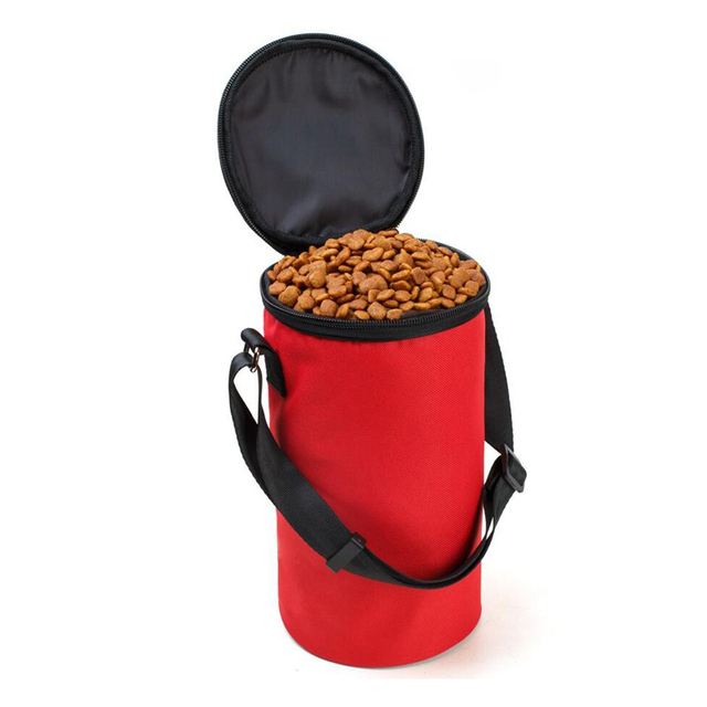 Collapsible Cylindrical Dog Food Storage Bag Portable Oxford Pet Training Bags Adjule Feedbag Snack Pouch
