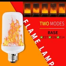 цена на 2PCS E14 Led Fire Bulb E26 Led Flame Effect Lamp E27 Candle Led Light Bulb Simulation Fire Burning 5W Holiday Lighting Christmas