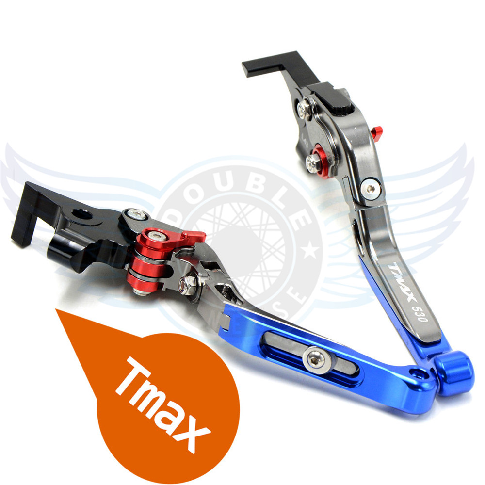 New Motorcycle CNC Foldable&Extendable&Adjustable Brake Clutch Levers Blue For Yamaha TMAX530 TMAX 530 T-MAX530 T-MAX 530 2013 for yamaha tmax tmax530 t max t max530 530 xp530 red blue new style blue logo motorcycle adjustable short brake clutch levers