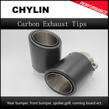 1Pair ID:63mm OD:101mm Universal Car Carbon Fiber Exhaust Tip Muffler End Pipe with Clamp