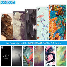 for Sony Xperia Z3 Silicone Back Cover for Sony D6603 D6643 D6653 D6616 L55T Ultrathin TPU for Sony Z3 Flamingos Phone Case(China)