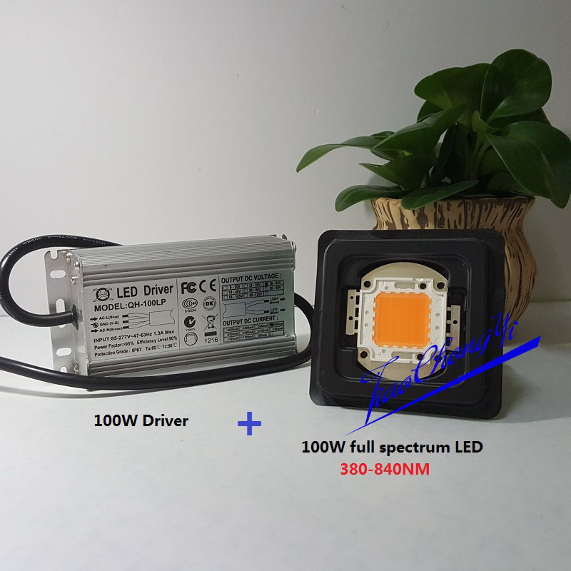 100W 3A LED Driver waterproof + 100W full spectrum led grow chip 380-840nm DIY