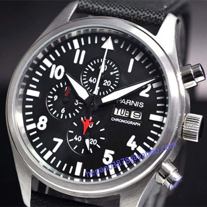 Parnis reloj de 42mm dial negro electrónico Vingate completa cronógrafo, fecha semana negro marca movimiento de cuarzo de los hombres 14-in Relojes de cuarzo from Relojes de pulsera    1