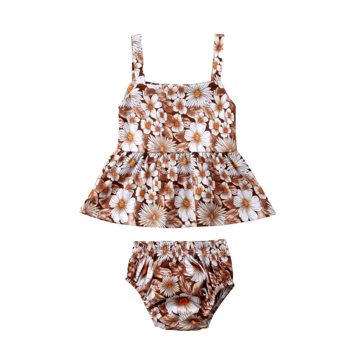 2PCS Newborn Baby Girls Flowers HOT SALE Sleeveless T-Shirt+Shorts Briefs Fashion Clothes Sets Summer 0-24M
