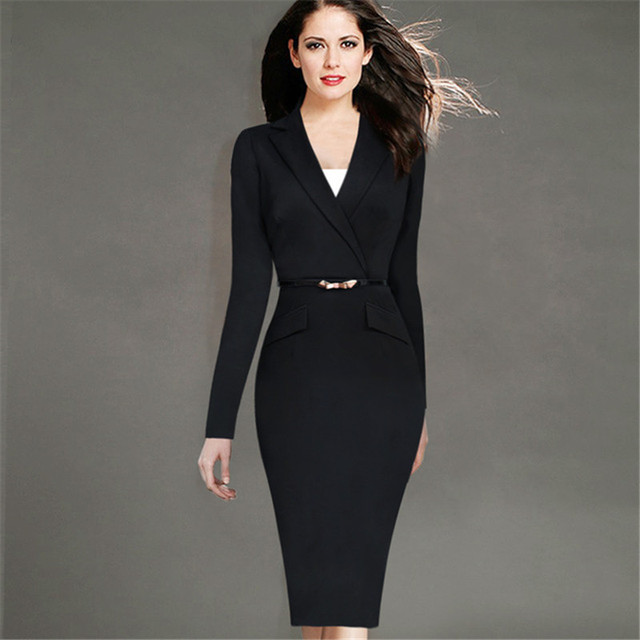 4cc5609d1a2 2018 Propcm Ladies Elegant Long Sleeve Black Dress Pencil Vintage Outfits  Working Party Office wear Bodycon with Belt Plus Size