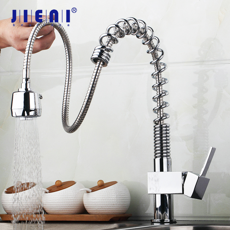 JIENI Kitchen Sink Faucet Pull Out Spray Swivel Spout Chrome Brass Finish Deck Mounted Tap Hot & Cold Mixer Polish Tap solid brass kitchen faucet chrome polish brused nickle pull out swivel spout mixer tap deck mount sink mixer tap pull down spray