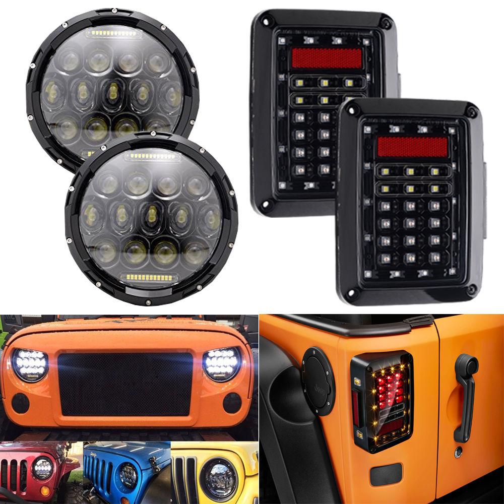 2х 7 дюймов 75W светодиодные фары DRL+ 2x светодиодные задние тормозной обратного хвост свет для джип Вранглер JK