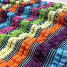 45X45cm Diy Knitted Stripe Fabric,Elastic Thick Sewing Patchwork Lace Cloth Material,Cushion Cover Fabric
