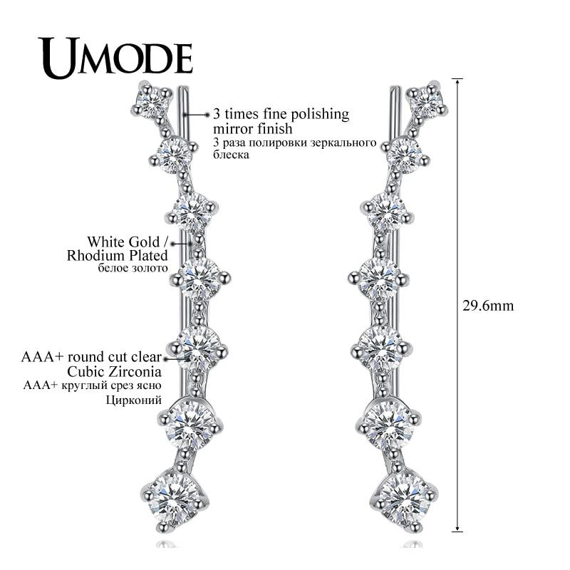 UMODE Modni nakit Četiri zupca Postavljanje 7pcs Uho Hook Crystal - Modni nakit - Foto 5