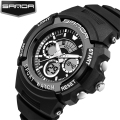 SANDA Hot Sale Black LED Digital Analog Dual Time Backlight Soft Rubber Waterproof Wristwatches Wrist Watch for Men Male Black