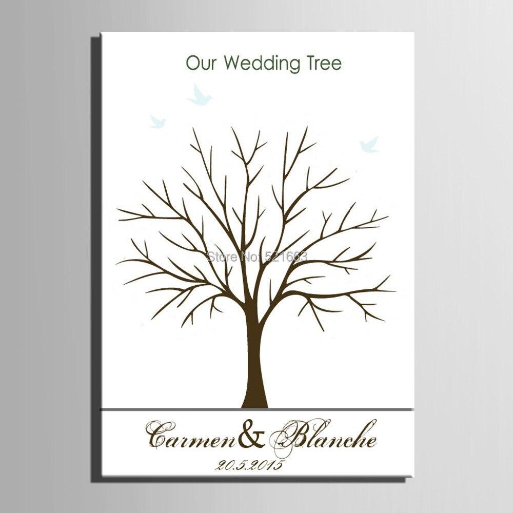 Prstni odtis drevo podpis platno poslikava zelena drevesa poročno - Prazniki in zabave - Fotografija 2