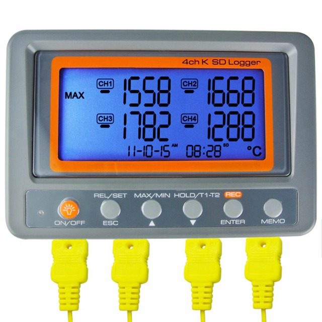 4 Channel  328~2498 degree C/F K Type Thermocouple 8GB SD Card Temperature Wallmount Thermometer Logger