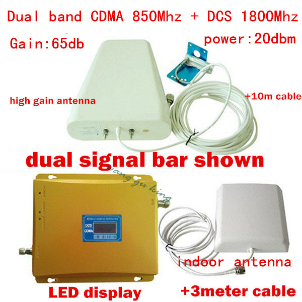 Full Set LCD booster !!! Dual band 2g 4g wifi repeater cellular 850Mhz/1800Mhz GSM LTE amplifier cell phone signal booster 65dB