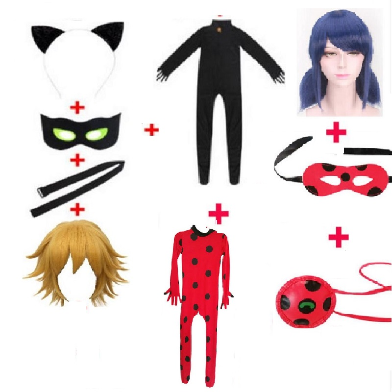 Lady Bug Costume Clothing Sets Kids Adult Girls Cat Noir Costume Halloween Party Cosplay Marinette Little Beetle Suit Jumpsuit