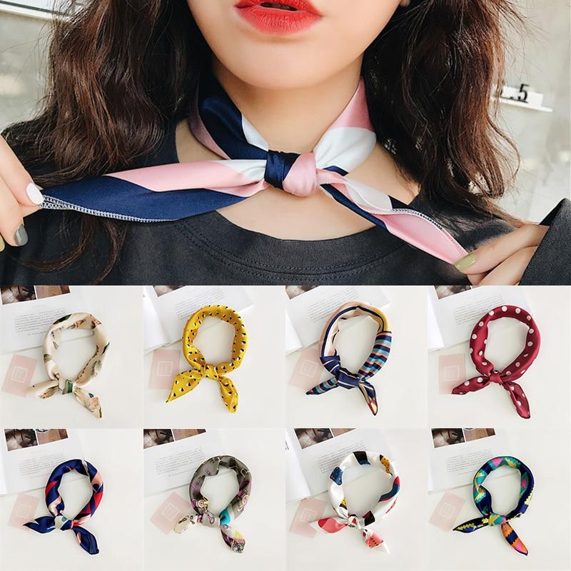LNRRABC 50X50CM Fashion Women Square Scarf Fake Silk Wraps Elegant Floral Spring Summer Head Neck Hair Tie Band Neckerchief