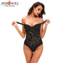 SEBOWEL Sexy Female Lace Black Padded Bodysuit with Cups Woman Spaghetti Straps