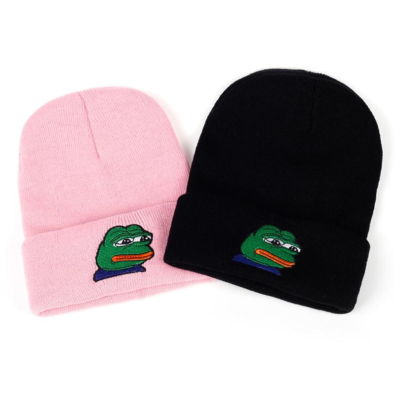 VORON Sad Kermit Cap Frog Pepe Feels Bad Man Embroidery Beanies Hip Hop Winter Keep Warm Hat The Sad Meme Frog Hat Skullies
