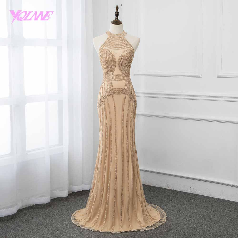 2019 Golden Sleeveless Mermaid   Evening     Dress   Crystal Formal Gown Robe de Soiree Pageant   Dresses   YQLNNE