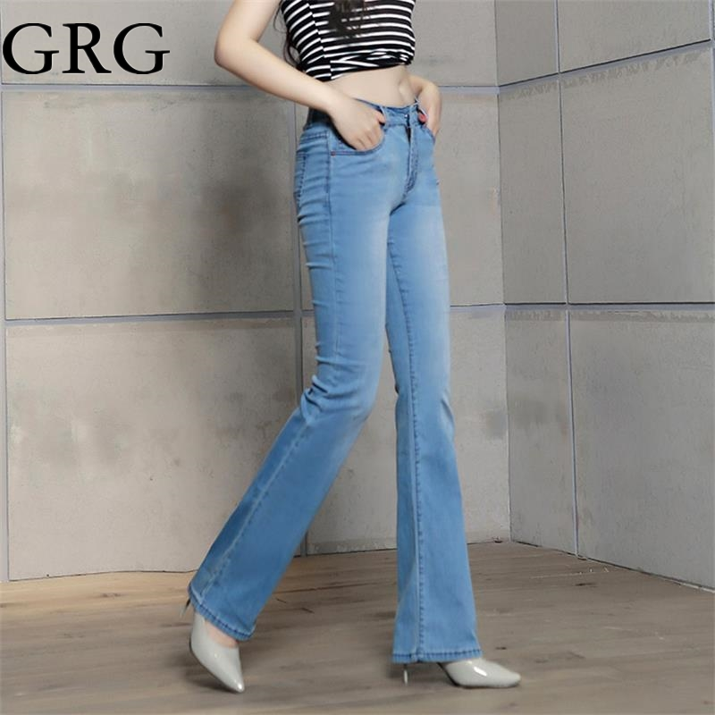 Free Shipping 2017 Women Summer Plus size thin bell bottom jeans female Mid waist trousers elastic