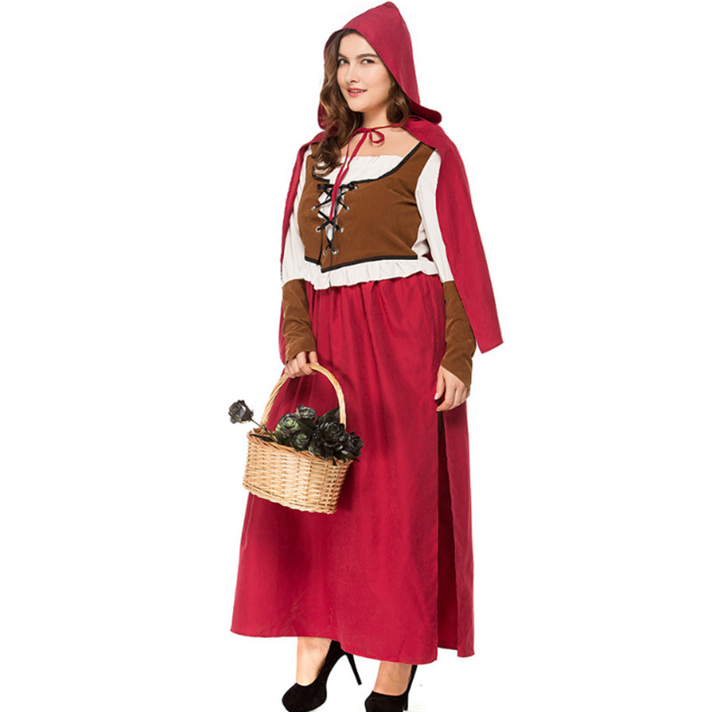 S-3XL high quality Little Red Riding Hood Costume palace queen princess Cosplay Fantasia Dress+Cloak Costume Halloween for Women