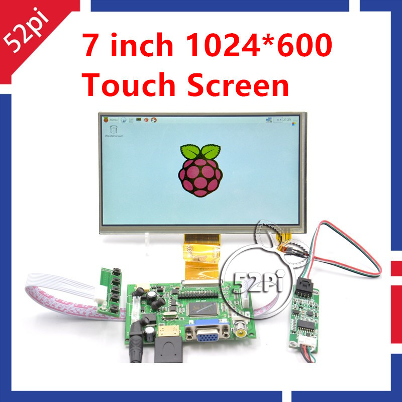 52Pi 7 Inch 1024*600 TFT LCD Monitor Resistive Touch Screen + Driver Board HDMI VGA 2AV for Raspberry Pi / PC Windows