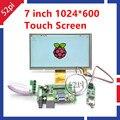 7 Polegada 1024*600 Módulo de LCD TFT Monitor de Tela de Toque + Placa Driver HDMI 2AV VGA para Raspberry Pi