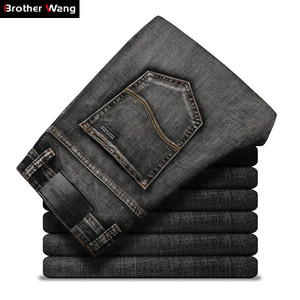 Image 1 - Classic Mens Dark Grey Jeans 2020 New Pants Fashion Casual Cotton Elastic Slim Fit Brand Trousers Male
