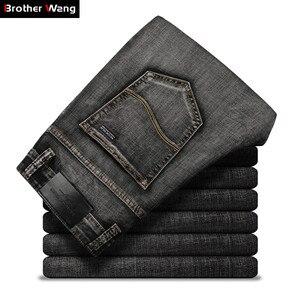 Image 1 - Klasik erkek koyu gri kot 2020 yeni pantolon moda rahat pamuk elastik Slim Fit marka pantolon erkek